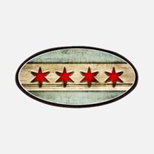 Vintage Chicago Flag Distressed Wood Patch