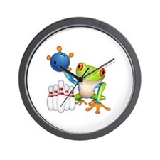 Bowling Frog Wall Clock