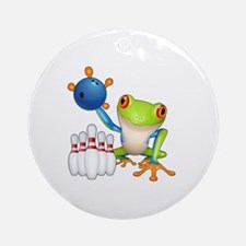 Bowling Frog Round Ornament