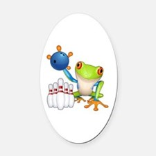 Bowling Frog Oval Car Magnet