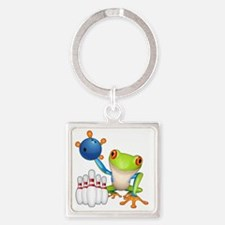 Bowling Frog Square Keychain