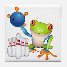Bowling Frog Tile Coaster