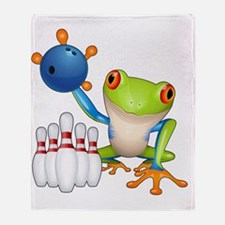 Bowling Frog Throw Blanket