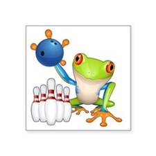 """Bowling Frog Square Sticker 3"""" x 3"""""""