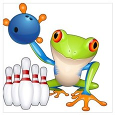 Bowling Frog Poster