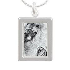 Keeshond Silver Portrait Necklace