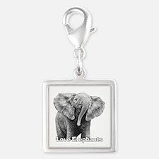 Love Elephants! Silver Square Charm