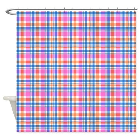 happy pink plaid shower curtain