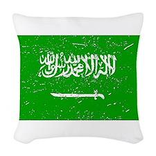 Saudi Arabia Flag (Distressed) Woven Throw Pillow