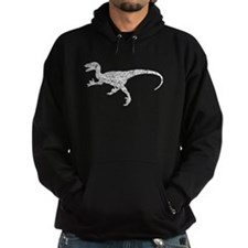 Distressed Velociraptor Silhouette Hoodie