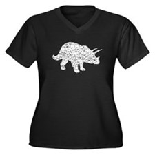Distressed Triceratops Silhouette Plus Size T-Shir