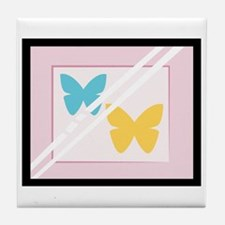 Framed Butterflies Tile Coaster