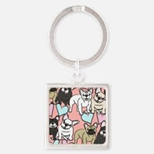 French Bulldogs Square Keychain