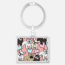 French Bulldogs Landscape Keychain