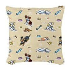 Poodle Mix n It Up Tan Woven Throw Pillow