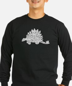 Distressed Stegosaurus Silhouette Long Sleeve T-Sh