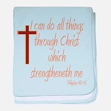 Philippians 4 13 Brown Cross baby blanket