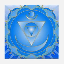 Mandala for Thraot and Brow Chakra Tile Coaster