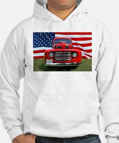 1948 Red Ford Truck USA Flag Jumper Hoody