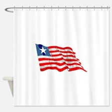 Liberia Flag (Distressed) Shower Curtain