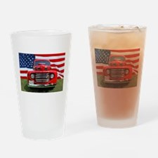 1948 Red Ford Truck USA Flag Drinking Glass