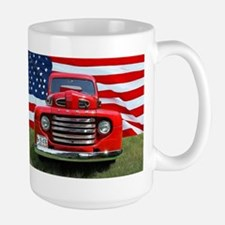 1948 Red Ford Truck USA Flag Mugs