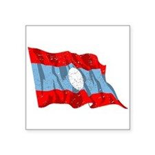 Laos Flag (Distressed) Sticker