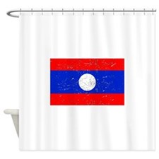 Laos Flag (Distressed) Shower Curtain