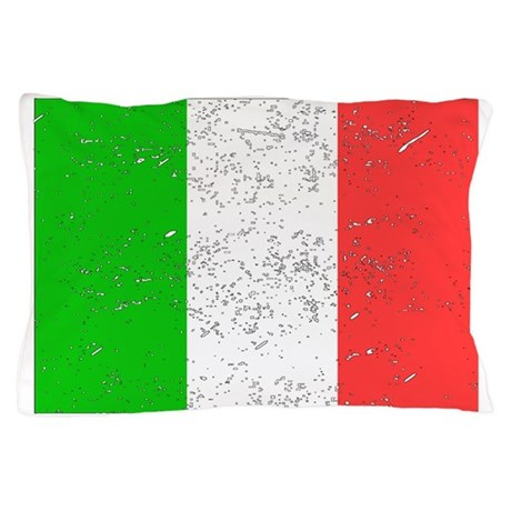 Italy Flag Distressed Pillow Case By Vintageflags