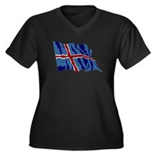 Iceland Flag (Distressed) Plus Size T-Shirt