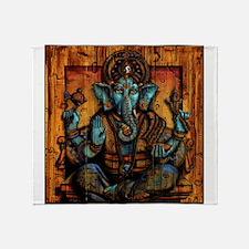 Blue Ganesha Throw Blanket