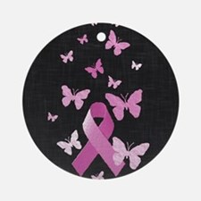 Pink Awareness Ribbon Round Ornament