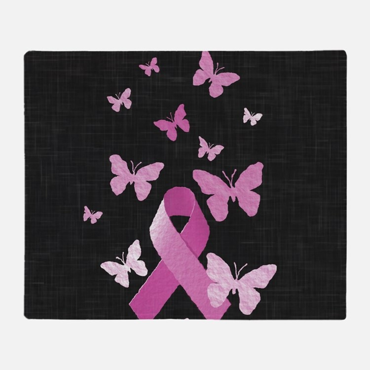 Pink Awareness Ribbon Throw Blanket