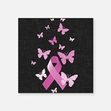 "Pink Awareness Ribbon Square Sticker 3"" x 3"""