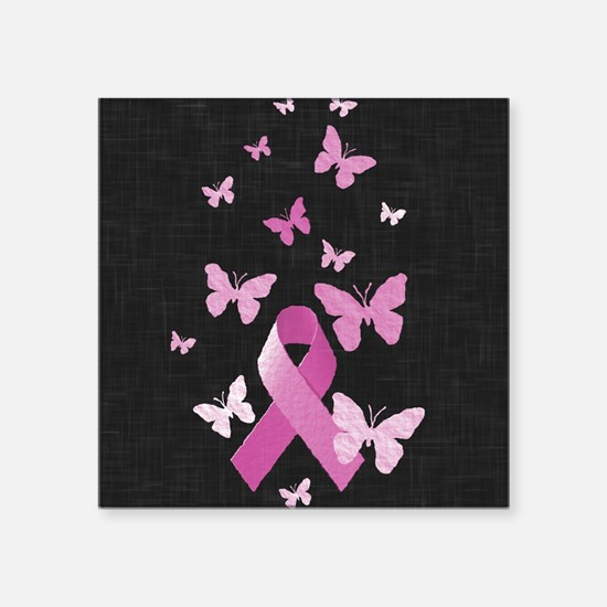 "Pink Awareness Ribbon Square Sticker 3"" x 3"""