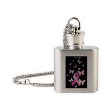 Pink Awareness Ribbon Flask Necklace