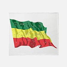 Ethiopia Flag (Distressed) Throw Blanket