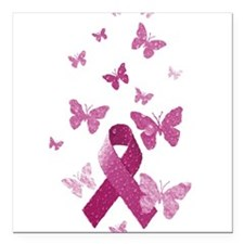 "Pink Awareness Ribbon Square Car Magnet 3"" x 3"""