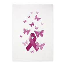 Pink Awareness Ribbon 5'x7'Area Rug