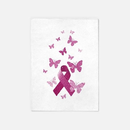 Pink Awareness Ribbon 5'x7'Area Rug