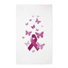 Pink Awareness Ribbon Area Rug