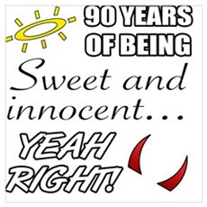 Cute 90th Birthday Humor Poster