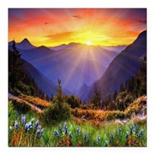 "Country Sunrise Square Car Magnet 3"" x 3"""
