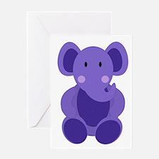 Baby Stuffed Purple Elephant Greeting Cards