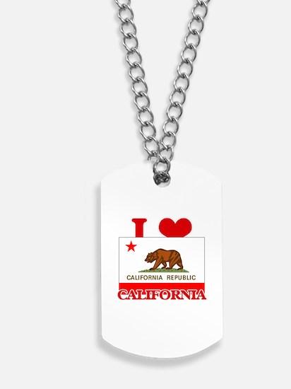 I Love California Dog Tags