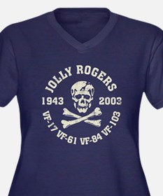 Jolly Rogers Women's Plus Size V-Neck Dark T-Shirt