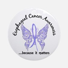 Esophageal Cancer Butterfly 6.1 Ornament (Round)