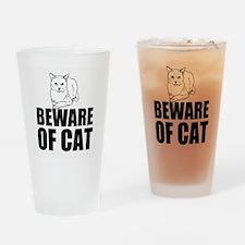 Beware of Cat Drinking Glass