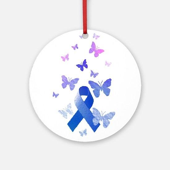 Blue Awareness Ribbon Ornament (Round)
