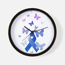 Blue Awareness Ribbon Wall Clock